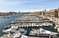 Powietrzny panoramiczny widok na starym porcie w Marseille Obrazy Stock