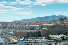 Powietrzny panoramiczny widok na starym porcie w Marseille Fotografia Royalty Free