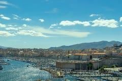 Powietrzny panoramiczny widok na starym porcie w Marseille Obraz Stock