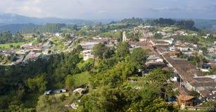 Powietrzny panoramiczny widok Salento wśród kawowej strefy w Colom obrazy royalty free