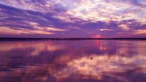 Powietrzny panoramiczny widok zmierzch na jeziorze obraz royalty free
