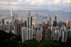 powietrzny pejzaż miejski Hongkong widok obraz stock