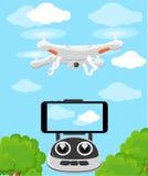 Powietrzny pojazdu quadrocopter Lotniczy trutnia unosić się Trutnia nakreślenie Obrazy Royalty Free