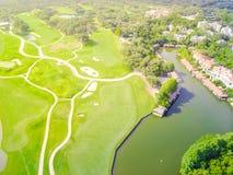 Powietrzny pole golfowe okręgu administracyjnego klub Austin, Teksas, usa Obraz Stock