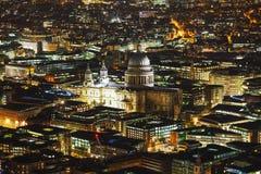 Powietrzny przegląd Londyński miasto z St Pauls katedrą Zdjęcia Royalty Free