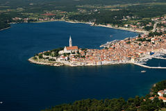 Powietrzny ptasiego oka widok Rovinj, Chorwacja Obraz Stock