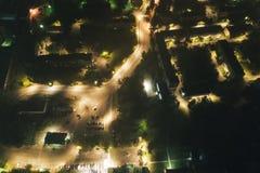 Powietrzny Townscape przy nocą zdjęcie stock