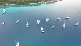 Powietrzny trutnia strzał marina zatoka w adriatic morzu, Chorwacja zbiory