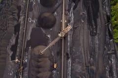 Powietrzny trutnia widok na kopalni węgla Zdjęcie Royalty Free
