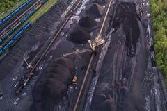Powietrzny trutnia widok na kopalni węgla Obrazy Stock