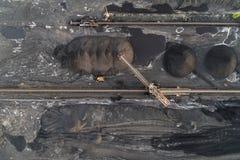 Powietrzny trutnia widok na kopalni węgla Zdjęcia Stock