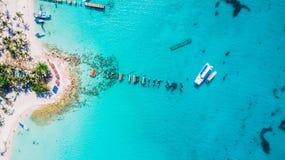 Powietrzny trutnia widok Saona wyspa w Punta Cana, republika dominikańska zdjęcie royalty free