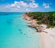 Powietrzny trutnia widok Saona wyspa w Punta Cana, republika dominikańska zdjęcie stock