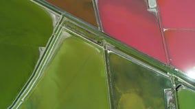 Powietrzny trutnia widok solankowe niecki, saltworks blisko Burgas, Bułgaria zbiory