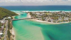 Powietrzny trutnia widok Tallebudgera zatoczka i plaża na Gold Coast, Queensland, Australia zbiory
