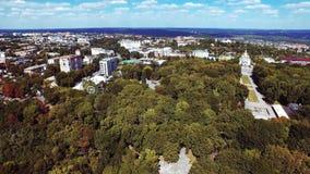 Powietrzny videography krajobrazu natury drzewo i rzeczny skrzyżowanie zbiory wideo
