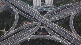 Powietrzny wideo autostrada ruch drogowy w Szanghaj zbiory