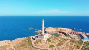Powietrzny wideo Faro Cabo De Palos latarnia morska, Spain zbiory