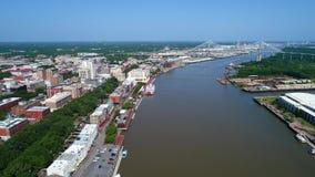 Powietrzny wideo Gruzja sawanny nadbrzeże rzeki zdjęcie wideo