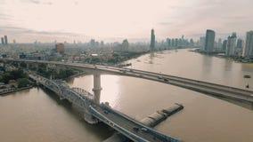 Powietrzny wideo Krung Thep most przy zmierzchem zdjęcie wideo