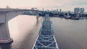 Powietrzny wideo Krung Thep most przy zmierzchem zbiory wideo
