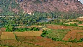 Powietrzny wiejski krajobrazowy widok zdjęcie wideo