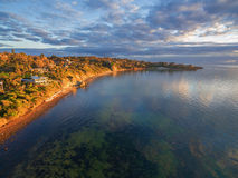 Powietrzny wizerunek Mornington półwysep przy zmierzchem Zdjęcia Royalty Free