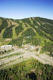 Powietrzny wizerunek Mt Waszyngtoński wysokogórski ośrodek narciarski, BC, Kanada fotografia royalty free