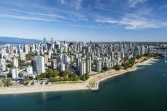 Powietrzny wizerunek Vancouver, BC, kolumbiowie brytyjska, Kanada zdjęcia royalty free