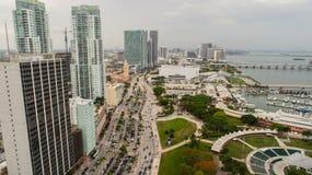Powietrzny wizerunek W centrum Miami Bayfront park Biscayne i Baysid Obrazy Royalty Free