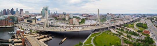 Powietrzny wizerunku Leonard P Zakim bunkieru wzgórza pomnika most Obraz Royalty Free