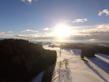 Powietrzny zima krajobraz Zdjęcia Stock