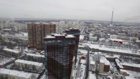 Powietrzny zima pejzaż miejski Moskwa, Rosja zbiory wideo