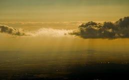 Powietrzny zmierzch nad miastem obrazy stock