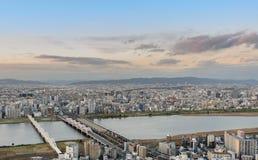 Powietrzny zmierzchu widok pejzażu miejskiego biznesowy śródmieście w Osaka, Jap Fotografia Stock
