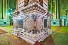 Powikłana baza kolumny w al meczecie, Kair, Egipt zdjęcie stock