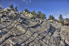 Powillimount Rock Formations and Trees HDR Royalty Free Stock Photo