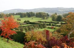 Powis castle garden in Autumn, Wales, England Stock Photo