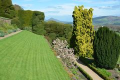 Powis castle garden. In the spring over looking Shropshire Royalty Free Stock Photo