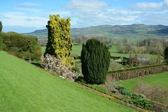 Powis castle garden. In the spring over looking Shropshire Stock Photography