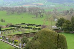 Powis castle garden. In the spring over looking Shropshire Royalty Free Stock Photos