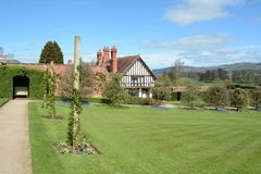 Powis castle house. Powis castle garden with black and while house Stock Images