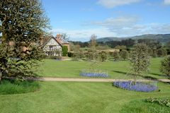 Powis castle house. Powis castle garden with black and while house Royalty Free Stock Photo