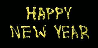 Powitania literowanie dla nowego roku Obraz olejny na szkle odizolowywającym na czarnym tle Widok od przodu Wolumetryczny lette zdjęcie stock
