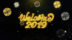 Powitania 2019 Pisać Złociste cząsteczki Wybucha fajerwerku pokazu