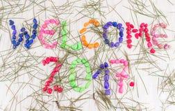 Powitania 2017 tło z jedlinowym drzewem Zdjęcia Royalty Free