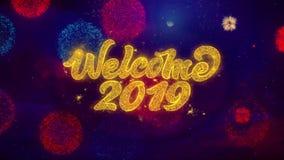 Powitania 2019 teksta błyskotania Wita cząsteczki na Barwionych fajerwerkach