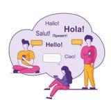 Powitania w Różnych językach w błękit chmurze ilustracja wektor