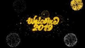 Powitania 2019 Złoty tekst Mruga cząsteczki z Złotym fajerwerku pokazem ilustracja wektor