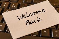 Powitania Z powrotem notatka Zdjęcie Stock